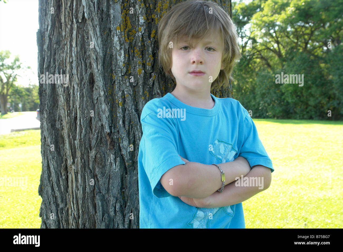 Six year old with arms crossed stands beside tree, Winnipeg, Canada - Stock Image