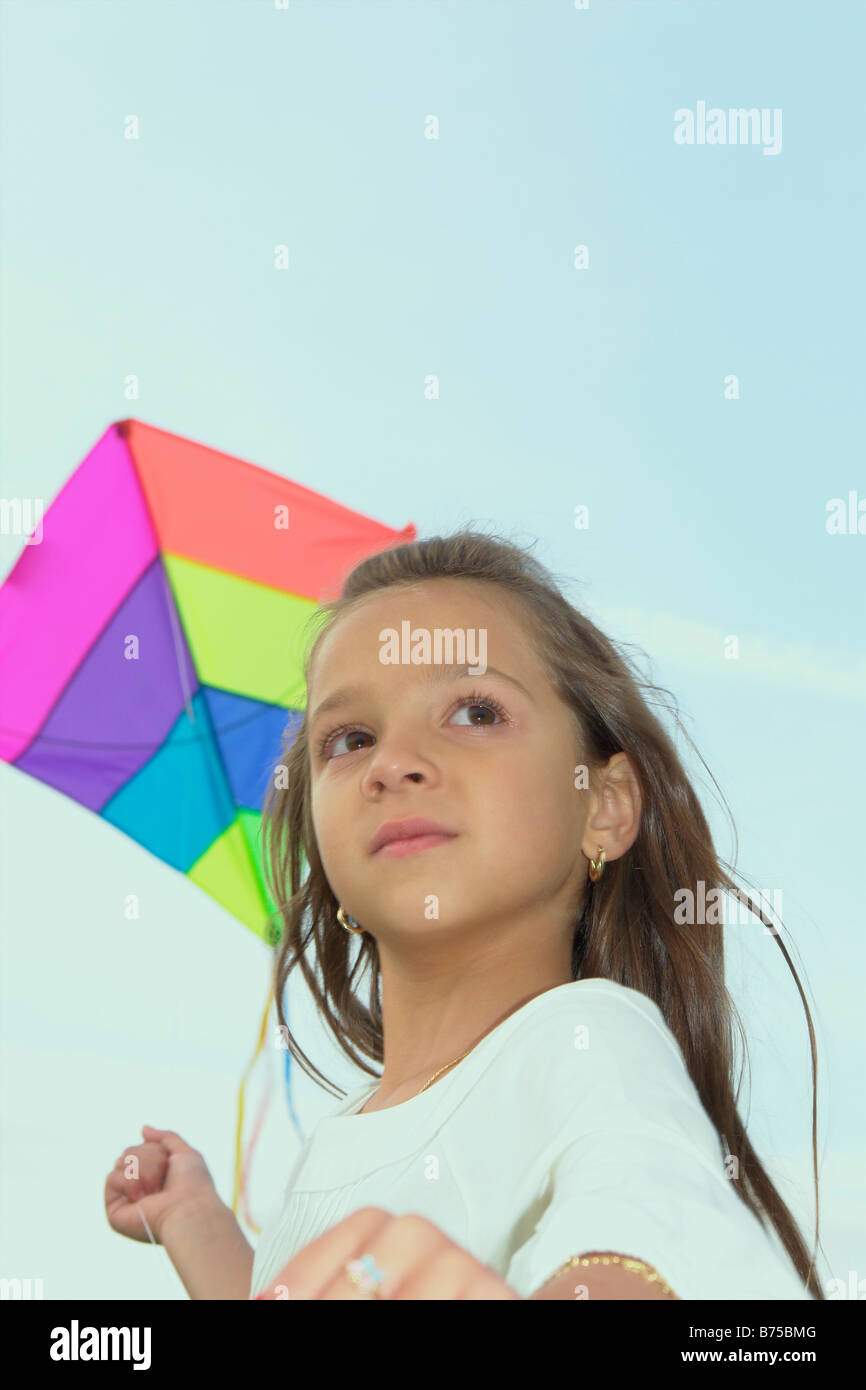 Seven year old girl with kite, Winnipeg, Canada - Stock Image