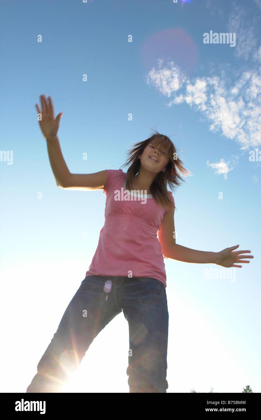 Thirteen year old girl with kite, Winnipeg, Canada Stock Photo
