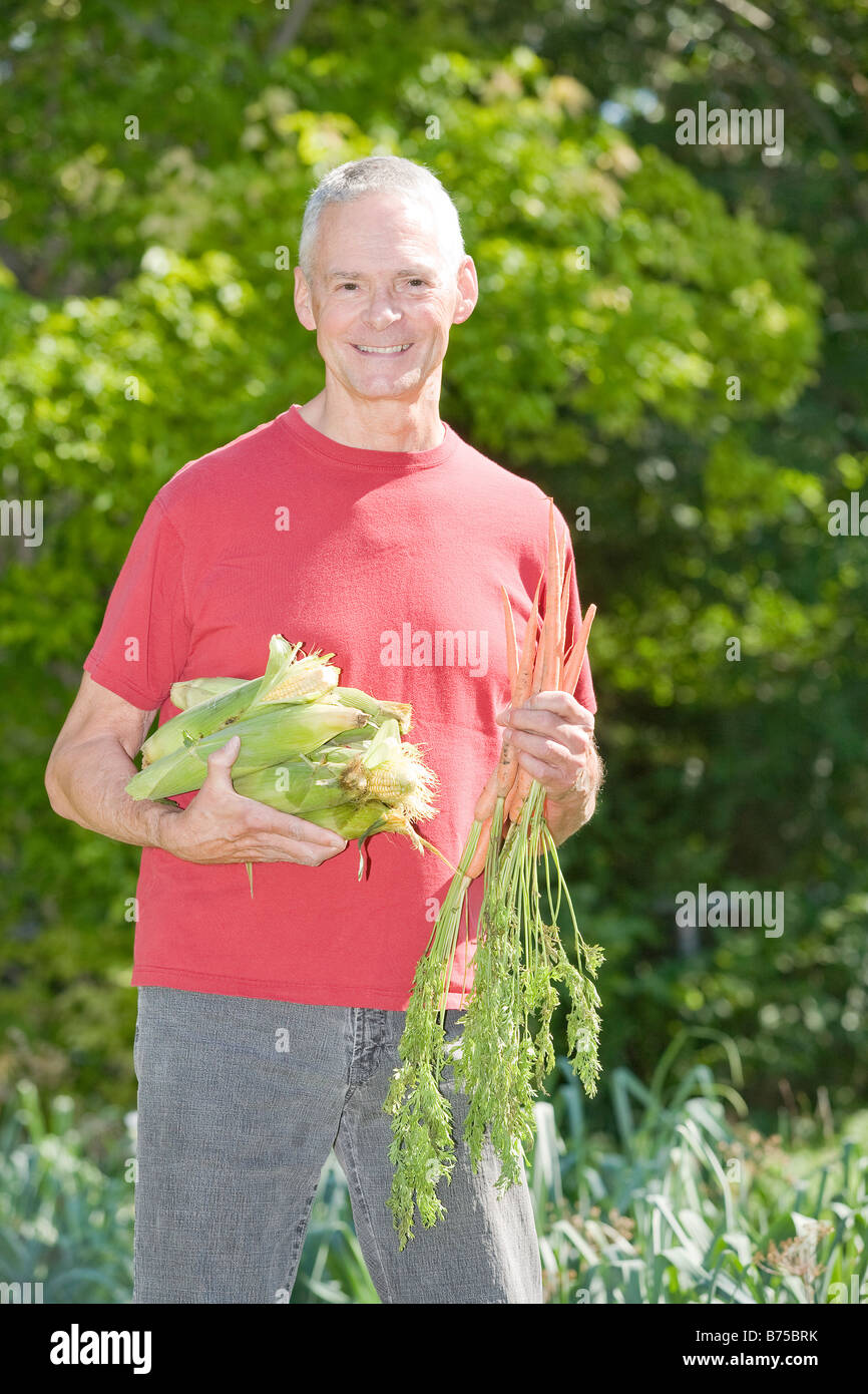 Senior man holding ears of corn and carrots, Winnipeg, Canada Stock Photo