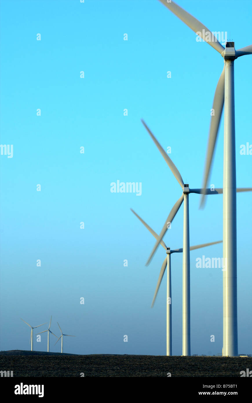 Row of wind turbines - Stock Image