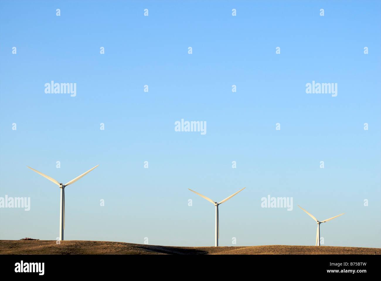 Three wind turbines - Stock Image