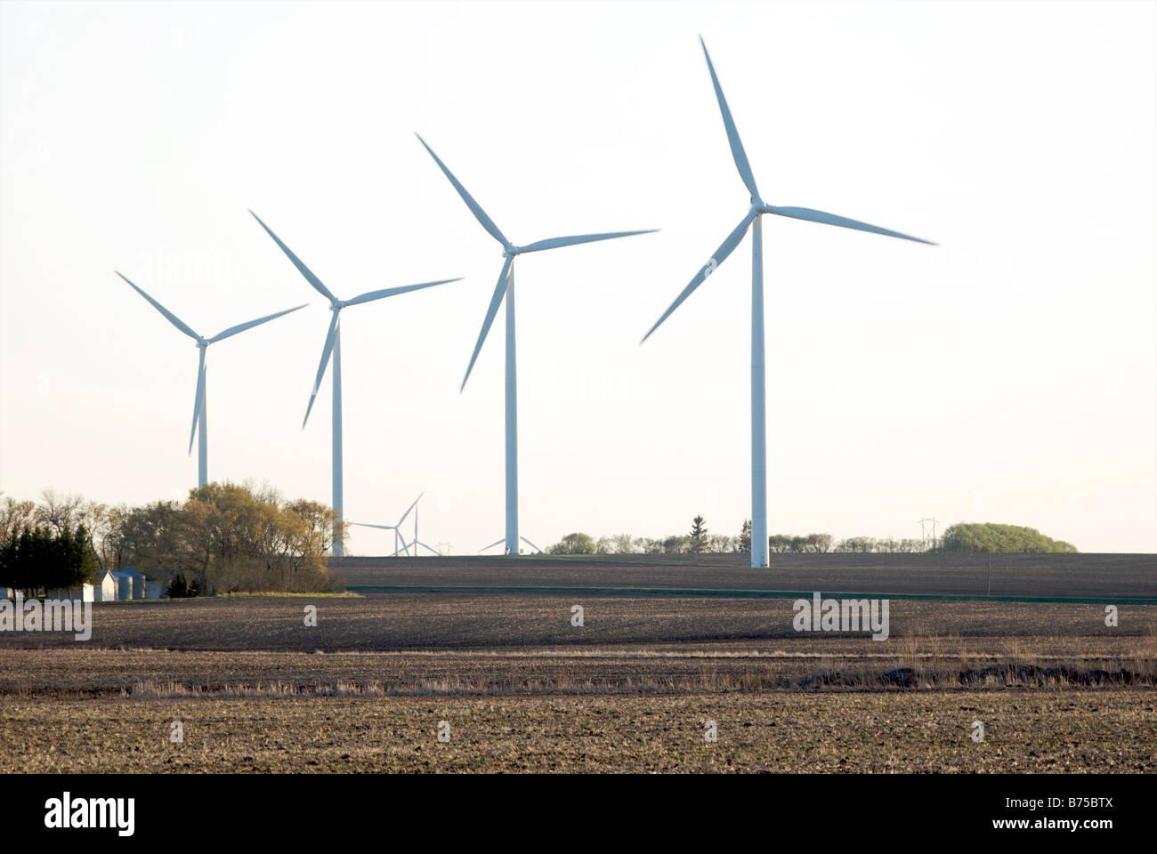 Four wind turbines - Stock Image