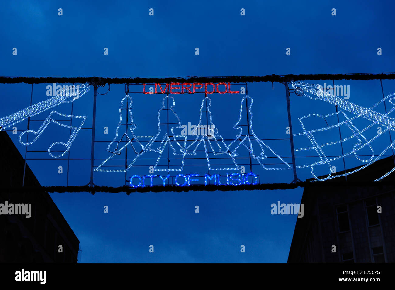 Liverpool City of Music Banner - Stock Image