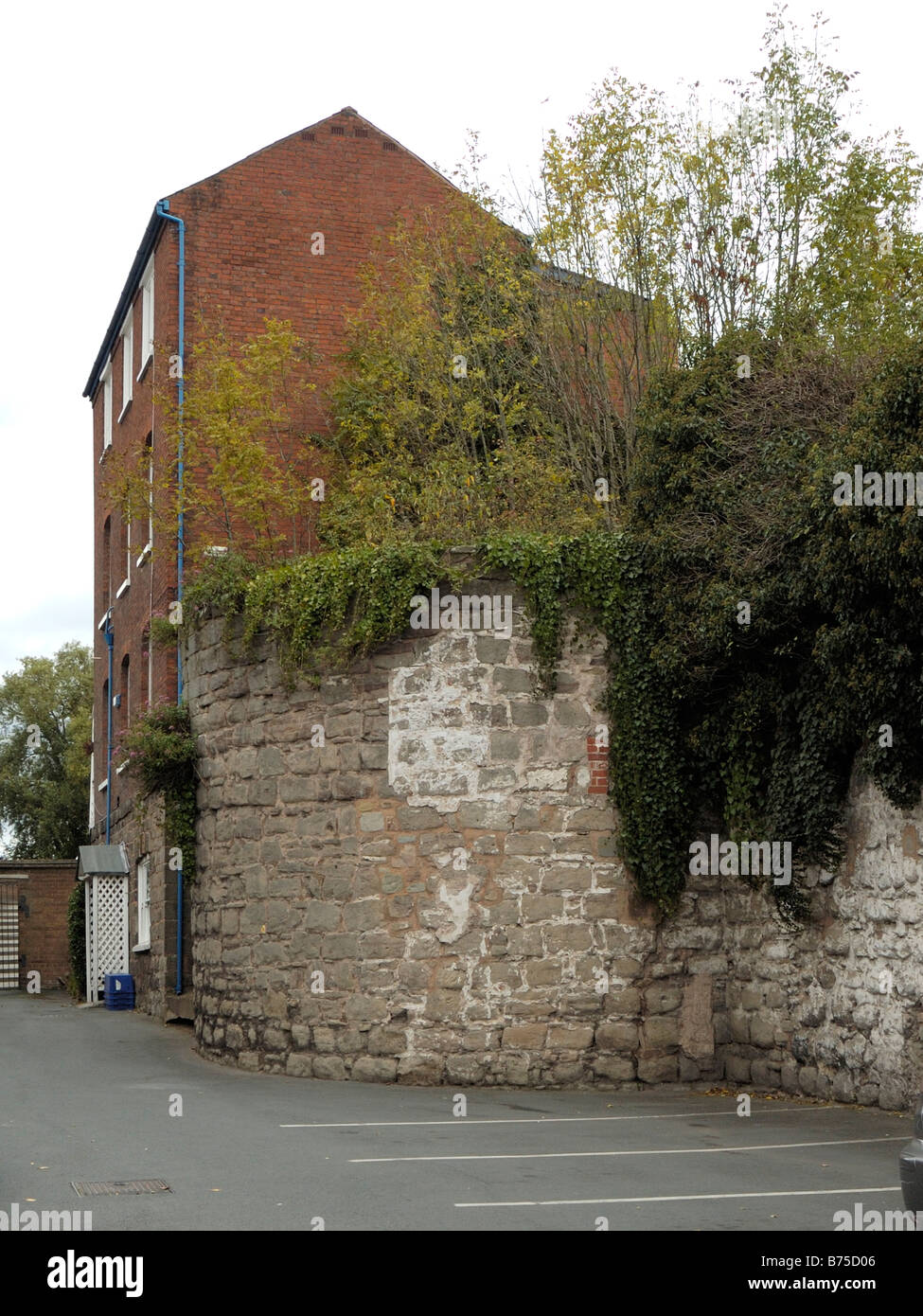 Hereford remains of bastion two of the old city wall - Stock Image
