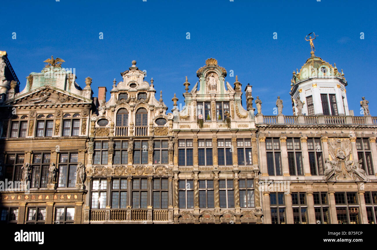Facades of historic old buildings in famous Grand Place square  Brussels Belgium 2009 - Stock Image