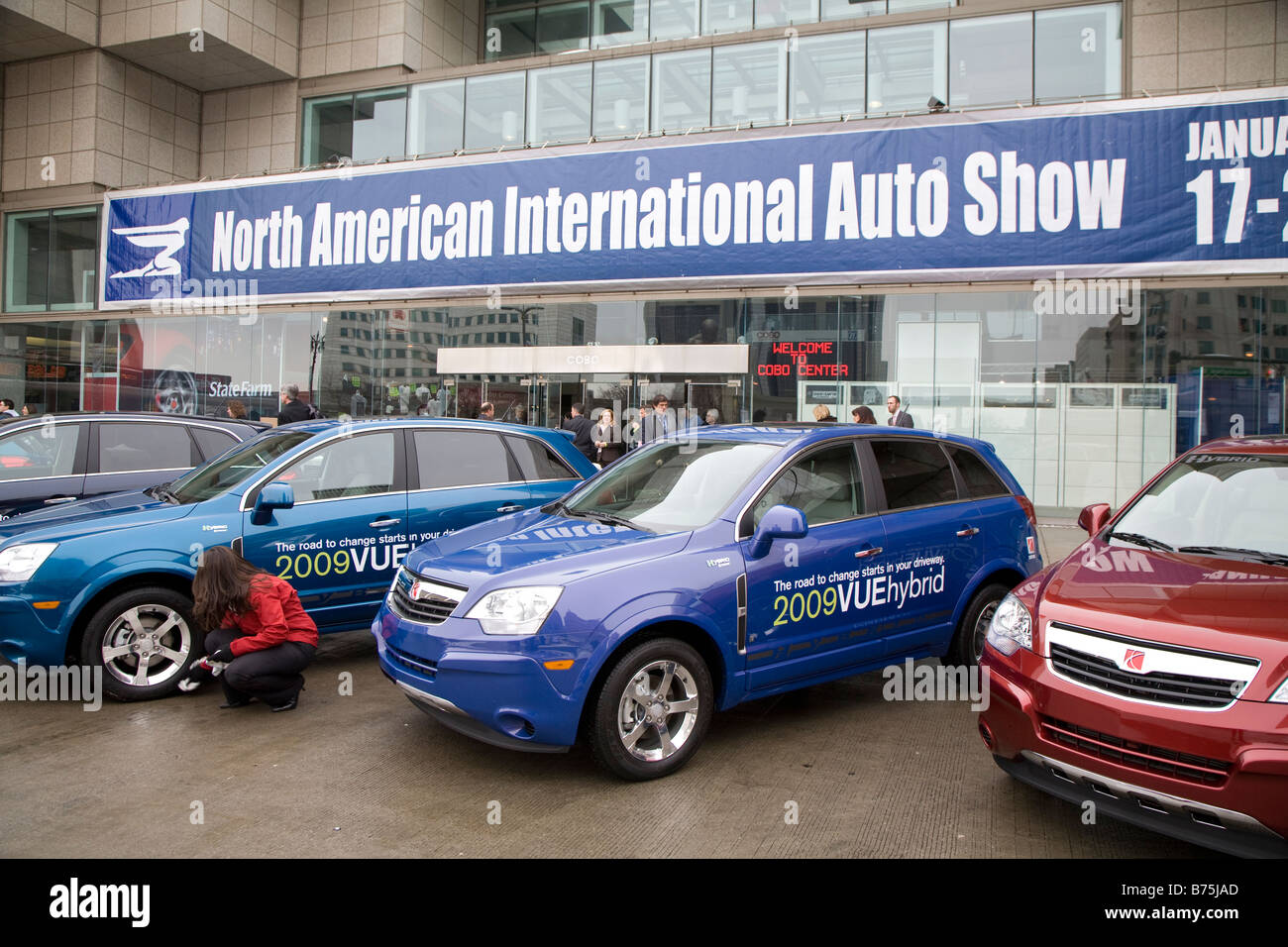 Detroit Michigan The Saturn Vue hybrid gas electric car outside the North American International Auto Show - Stock Image