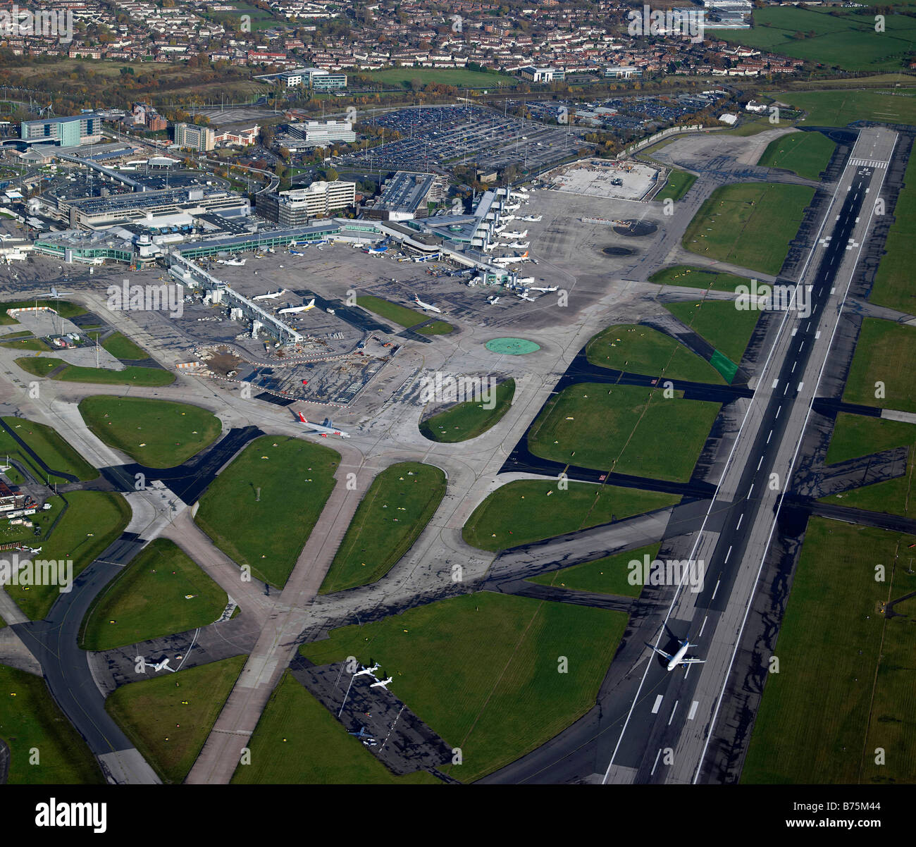 Manchester Airport from the air, Northern England - Stock Image