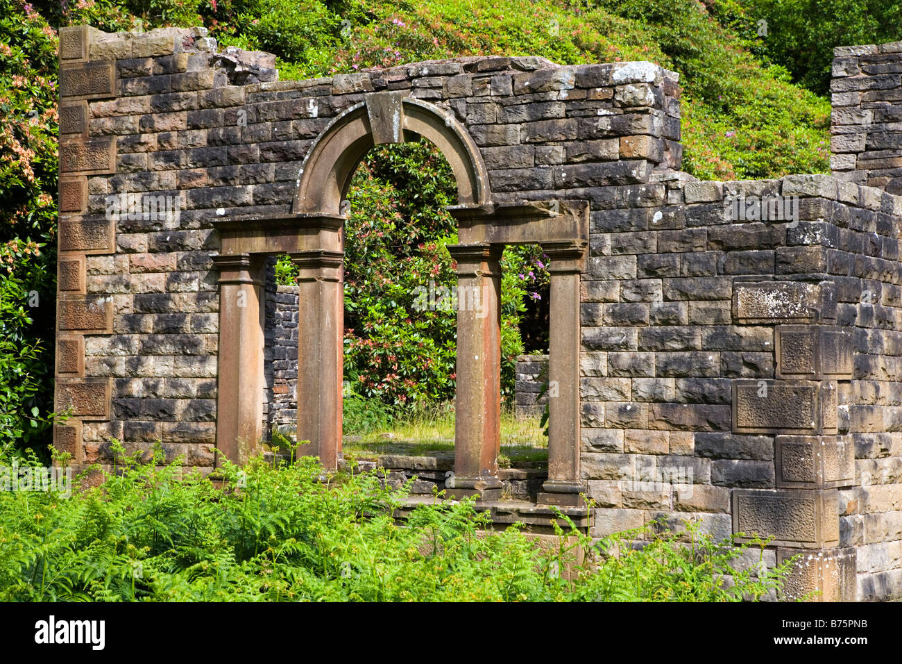View of the Ruins of Errwood Hall in the Goyt Valley in the Peak District in Derbyshire - Stock Image
