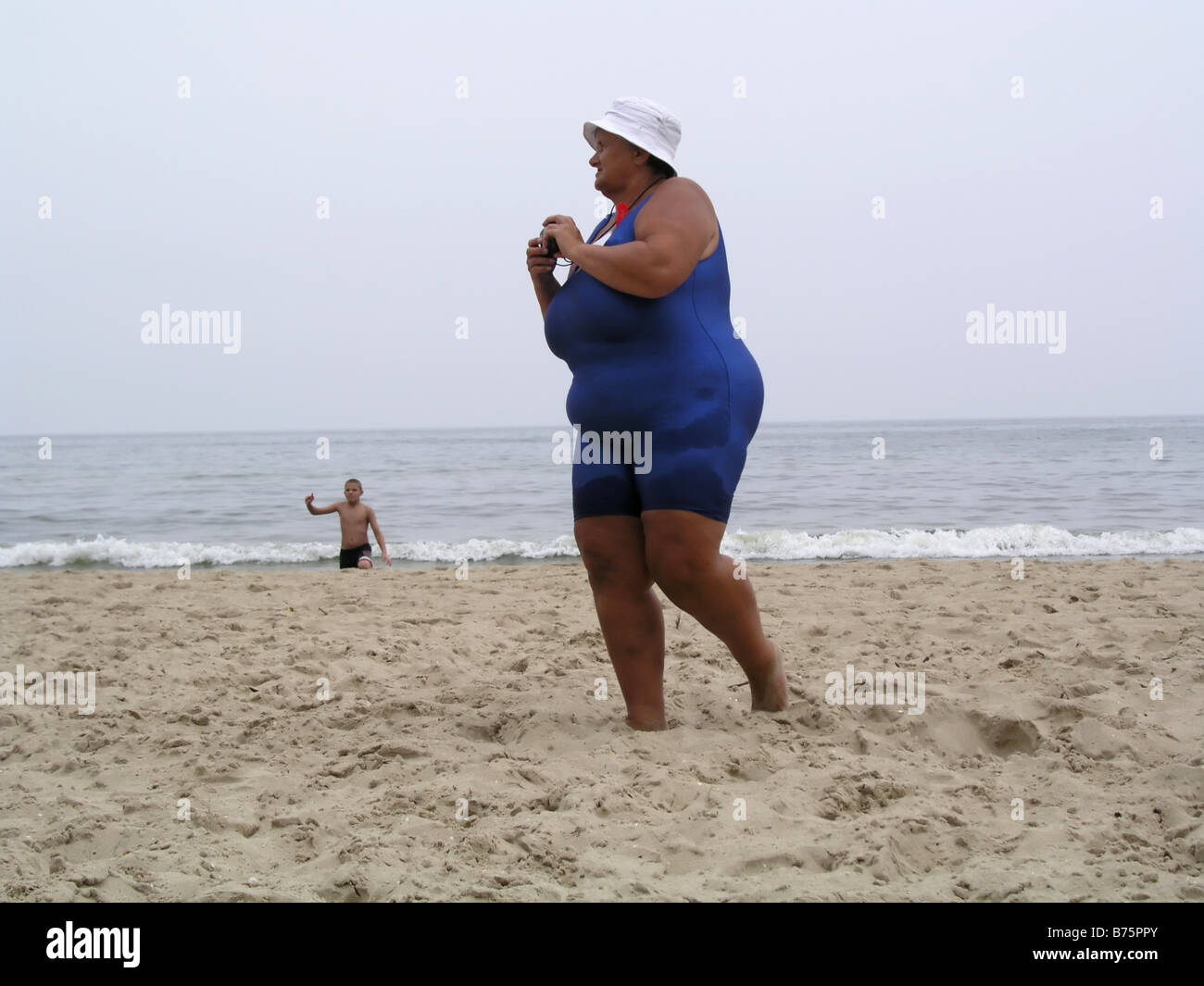 Fat lady on beach variant apologise