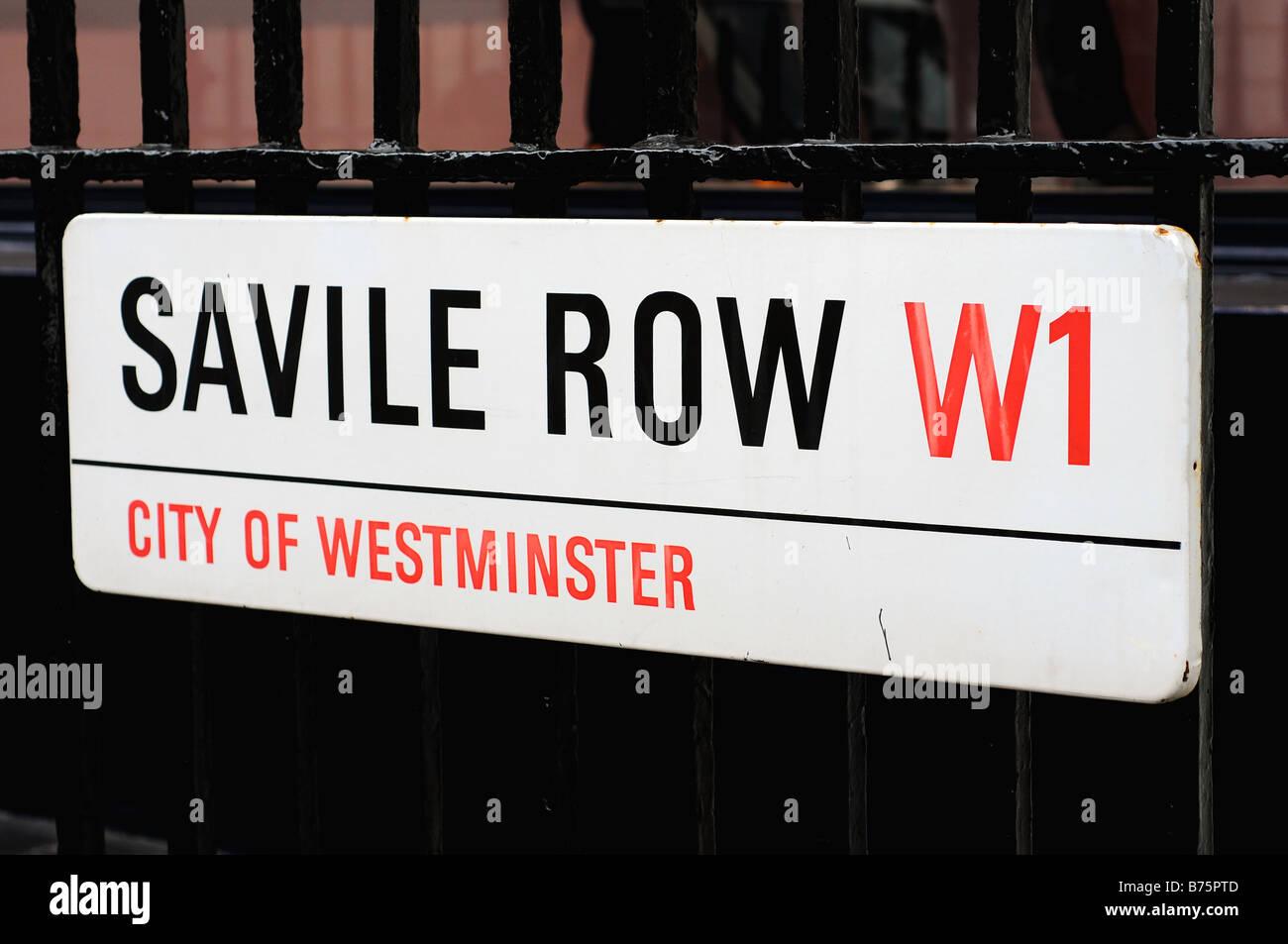 Saville Row street sign, London, England - Stock Image