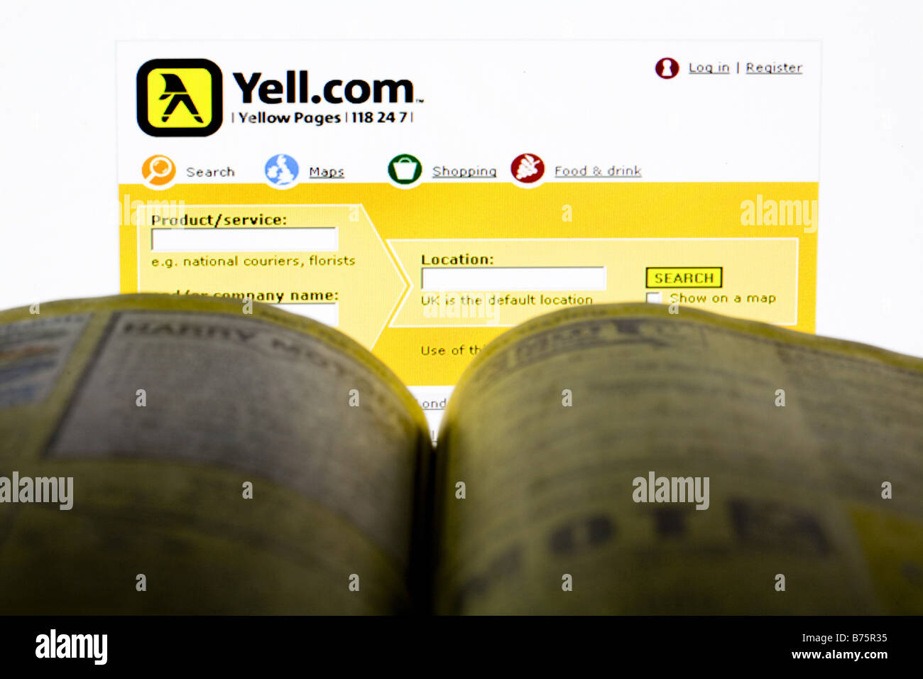 Yellow Pages Telephone Business Directory Stock Photos & Yellow