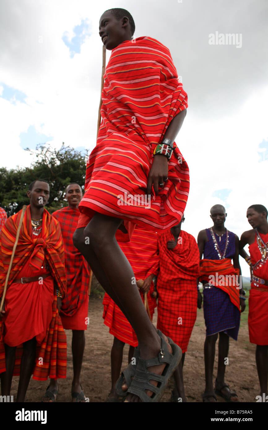 Africa African Africans Kenya Kenyan Kenyans Massai Maasai Massai mara mara Ngoiroro people village villagers poverty - Stock Image