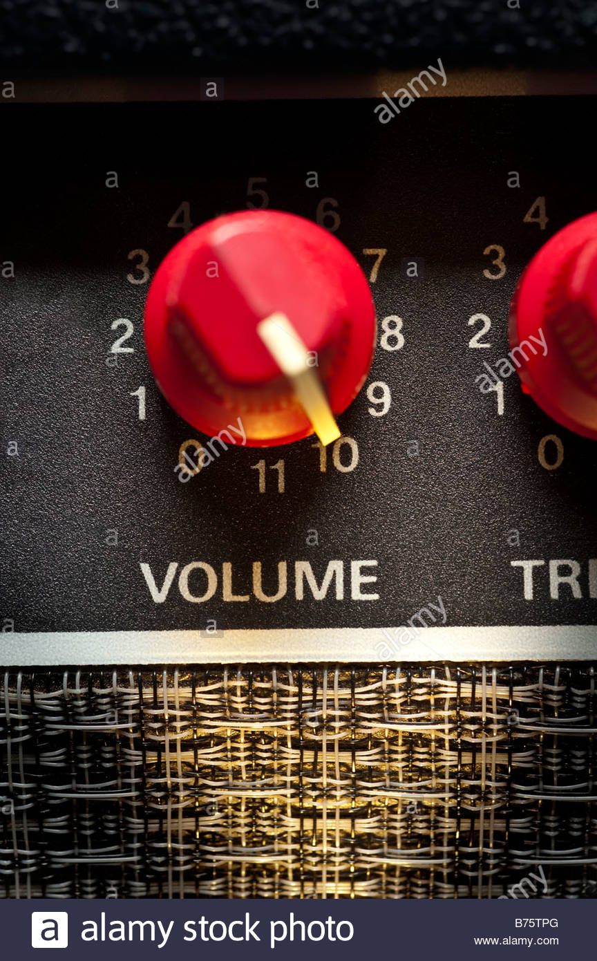 Fender Amp Volume control turned up to level 10 with and 11 position speaker amplifier sound system music live loud - Stock Image