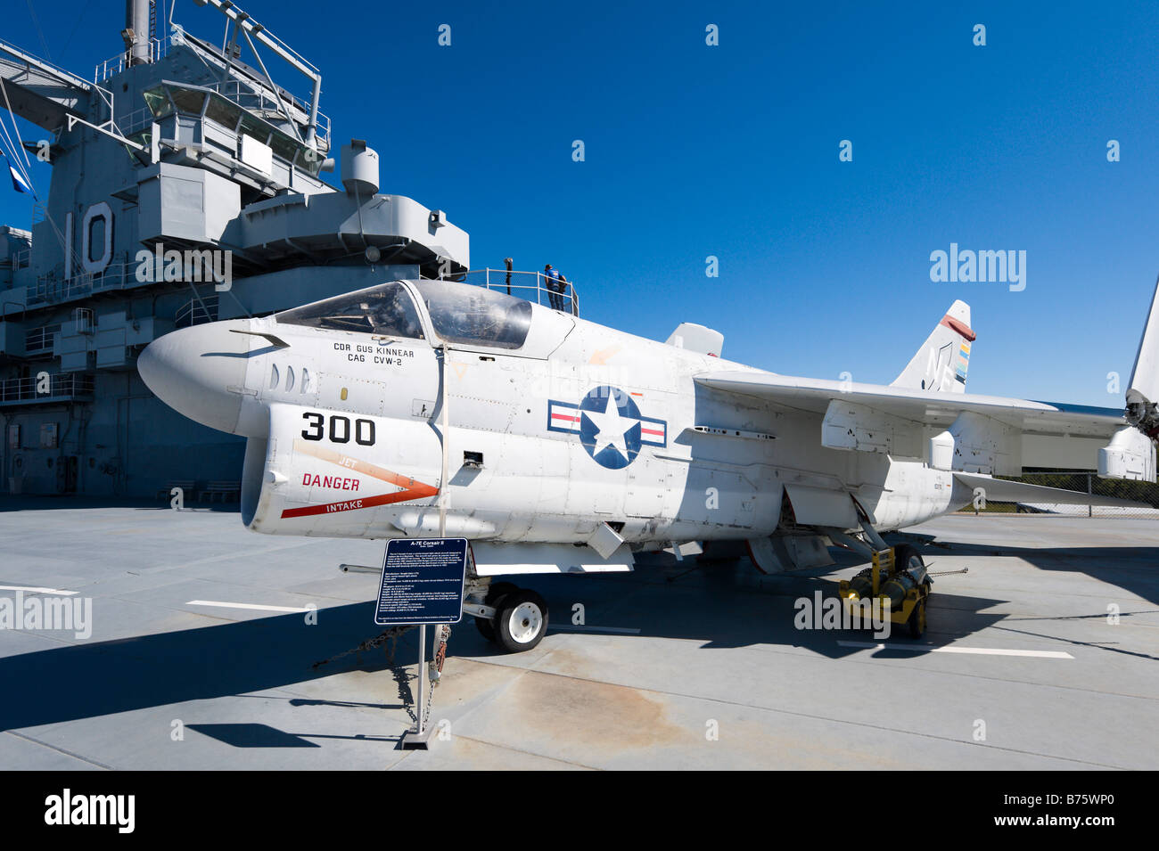 A-7E Corsair light attack aircraft on deck of USS Yorktown aircraft carrier, Patriots Point Naval Museum, Charleston - Stock Image