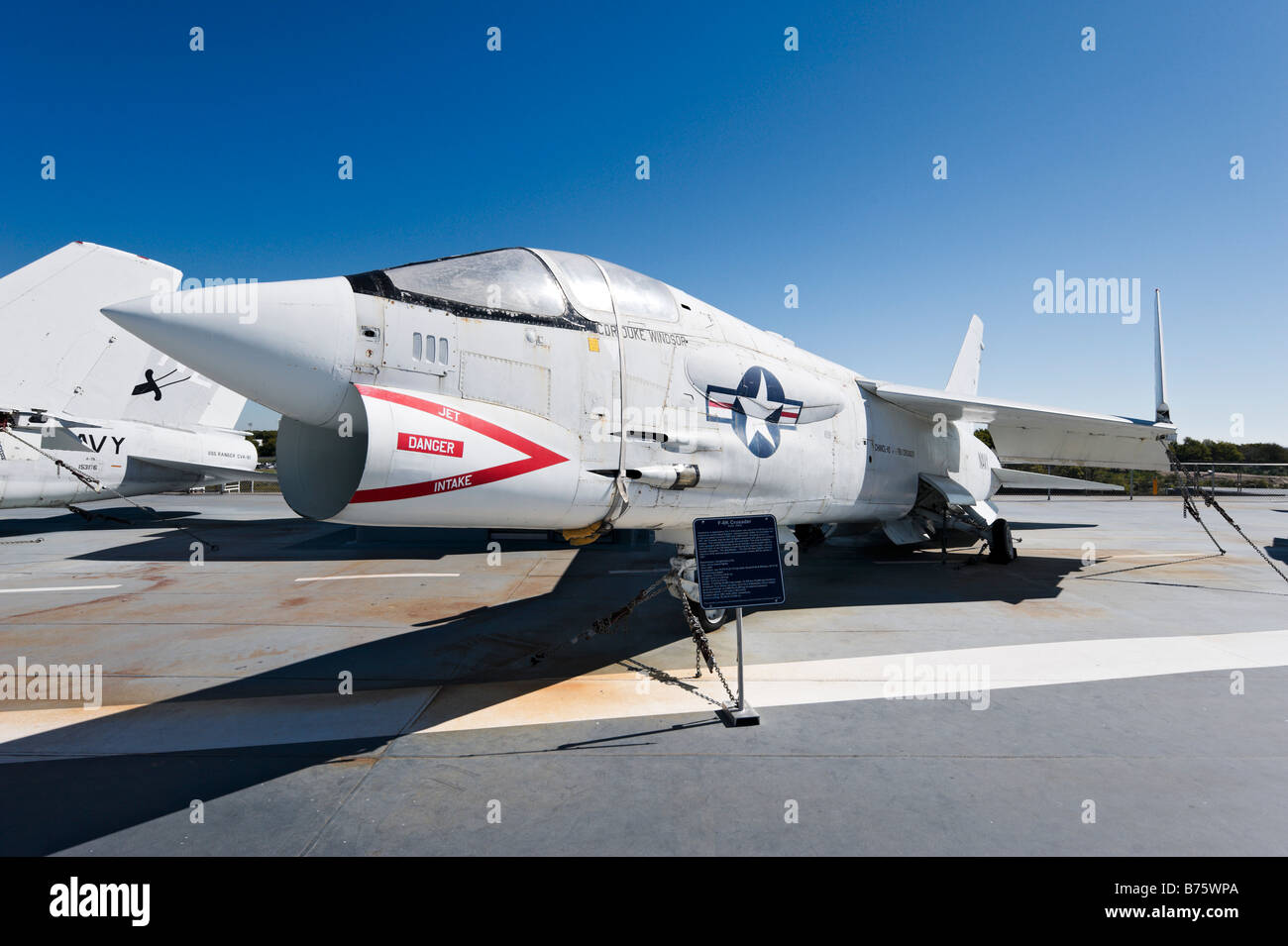F-8K Crusader fighter aircraft on deck of USS Yorktown aircraft carrier, Patriots Point Naval Museum, Charleston, - Stock Image