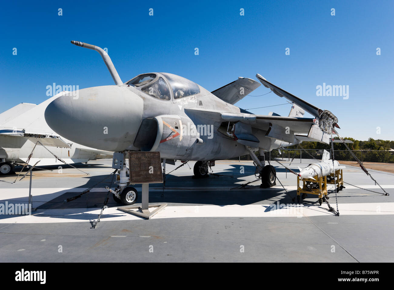 Grumman A-6E Intruder on deck of USS Yorktown aircraft carrier, Patriots Point Naval Museum, Charleston, South Carolina - Stock Image