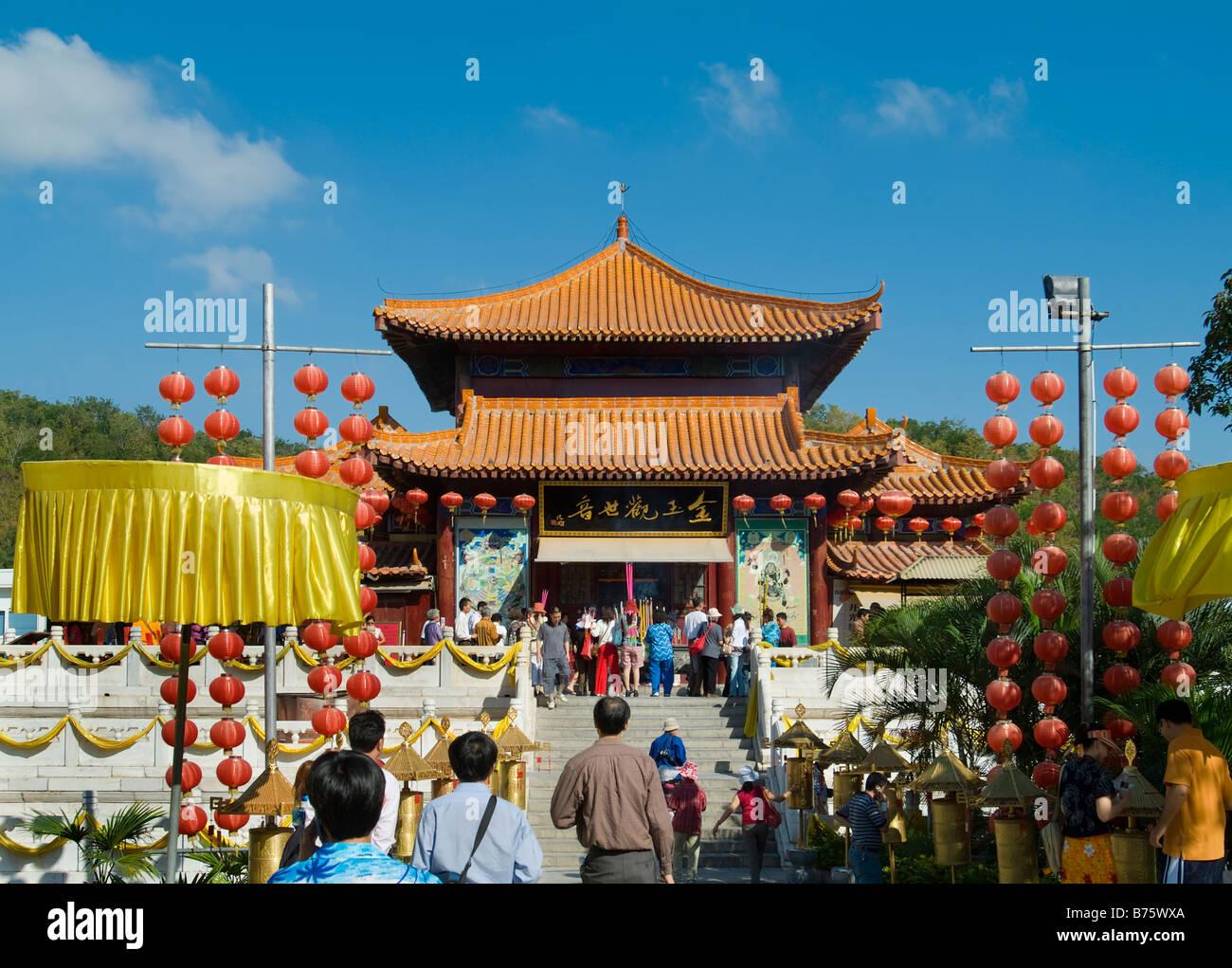 Buddhist Temple at Nanshan Buddhism Culture Park, Sanya, Hainan, China Stock Photo