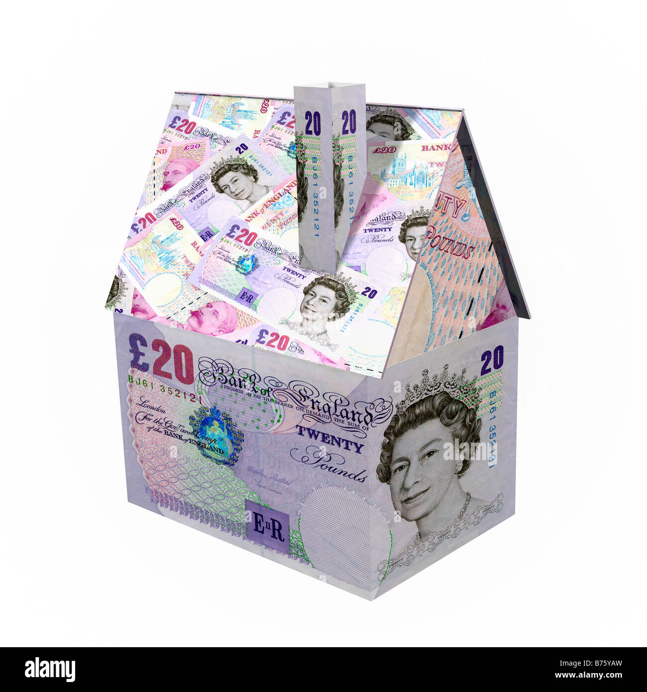 House made from 20 pound notes sterling - 3d cgi render financial concept - Stock Image