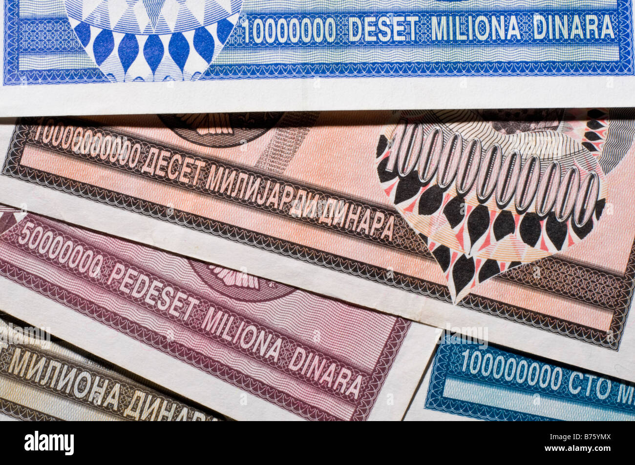 Banknotes From Krajina Serbia During Period Of Hyperinflation 1993 Ten Million To Ten Billion Dinar Notes