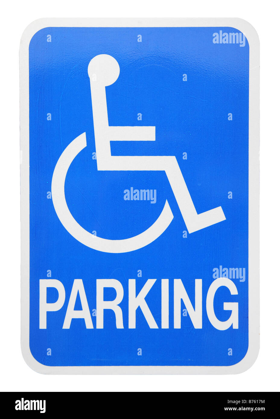 handicapped parking sign cut-out on white background - Stock Image