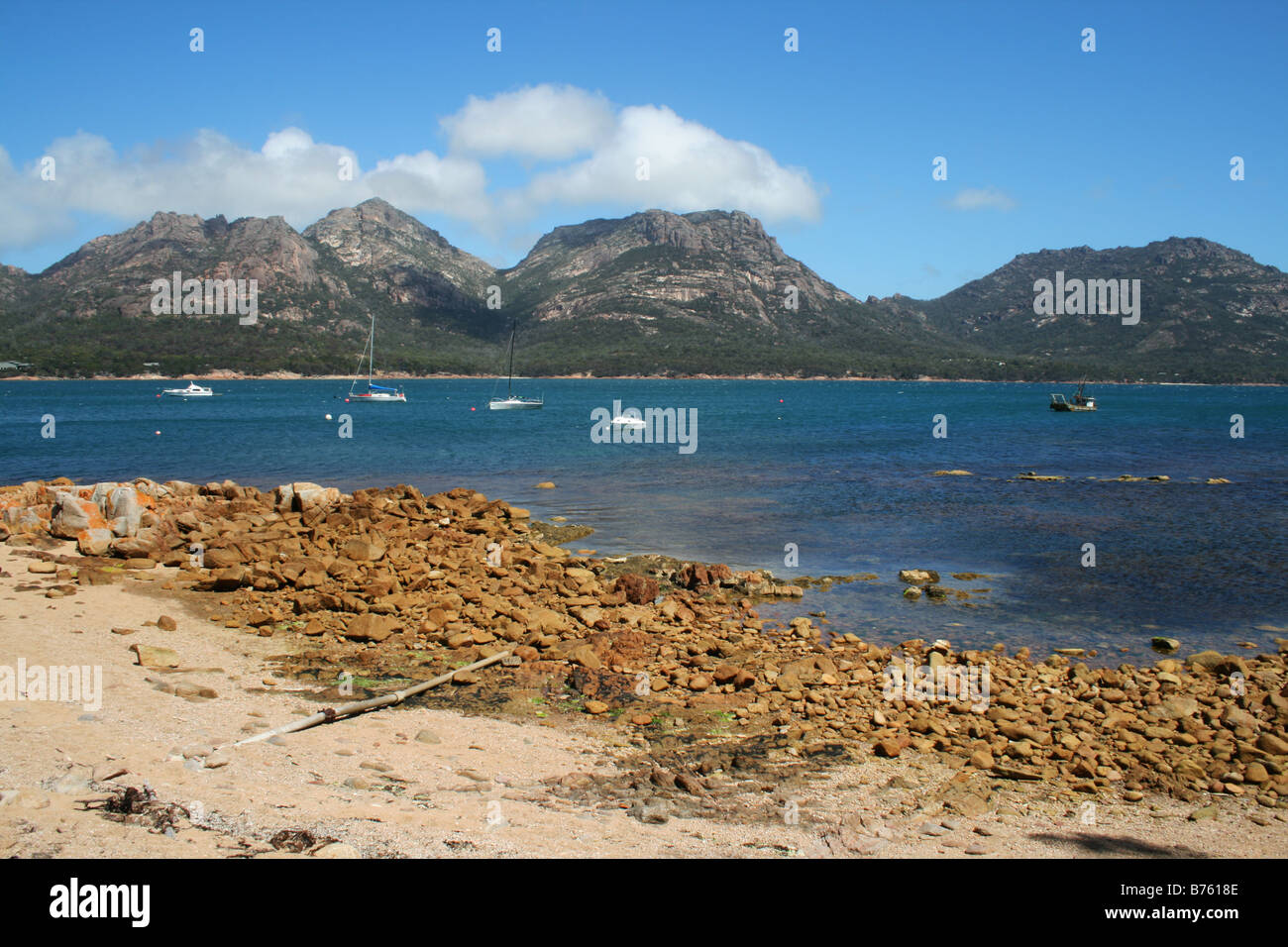 The Hazards as seen from Coles Bay - Stock Image