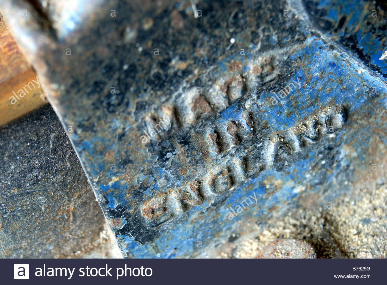'Made in England' moulded into a metal vice. - Stock Image