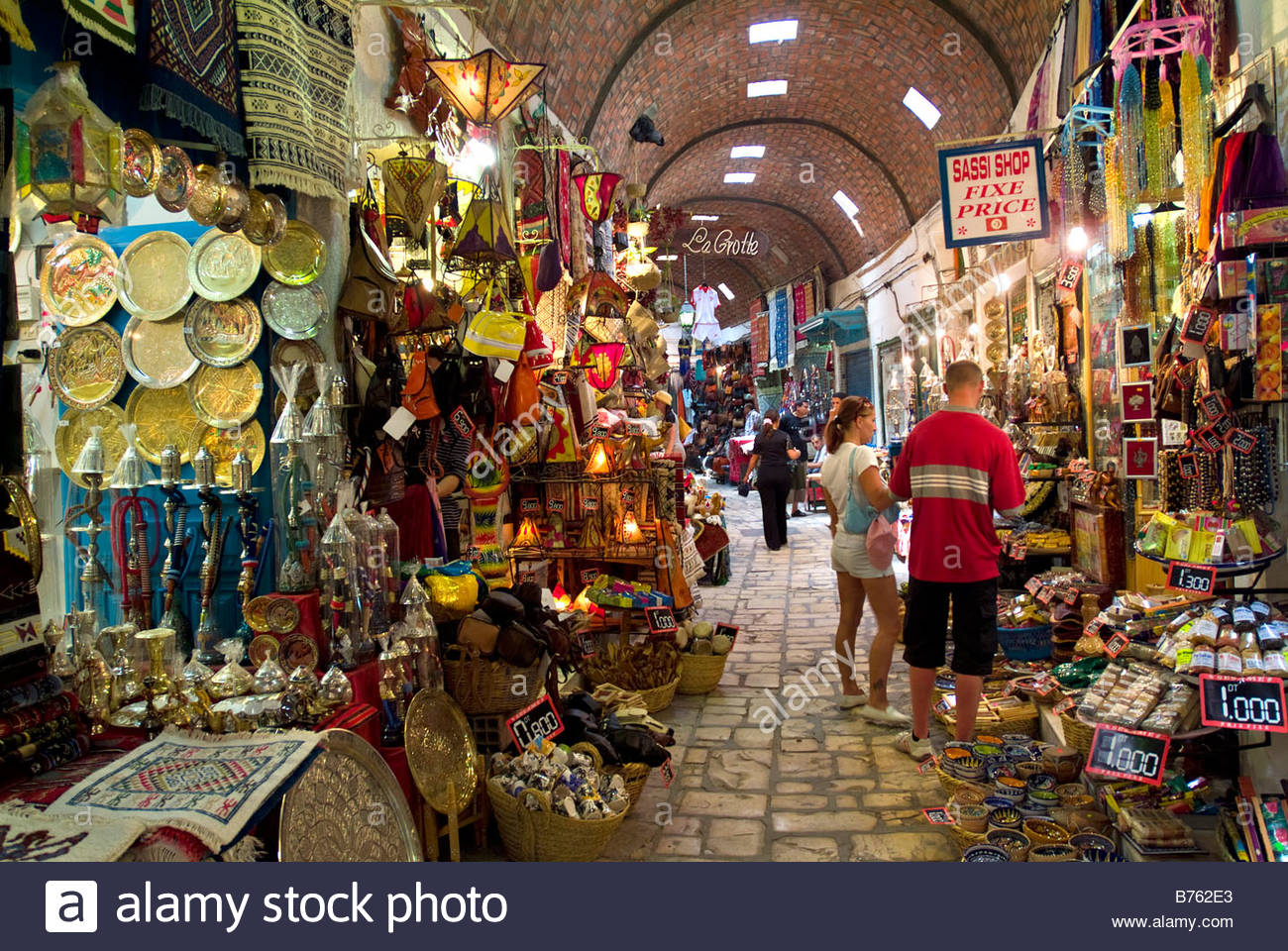 Shops at the souk in the Medina, Sousse, Tunisia Stock Photo