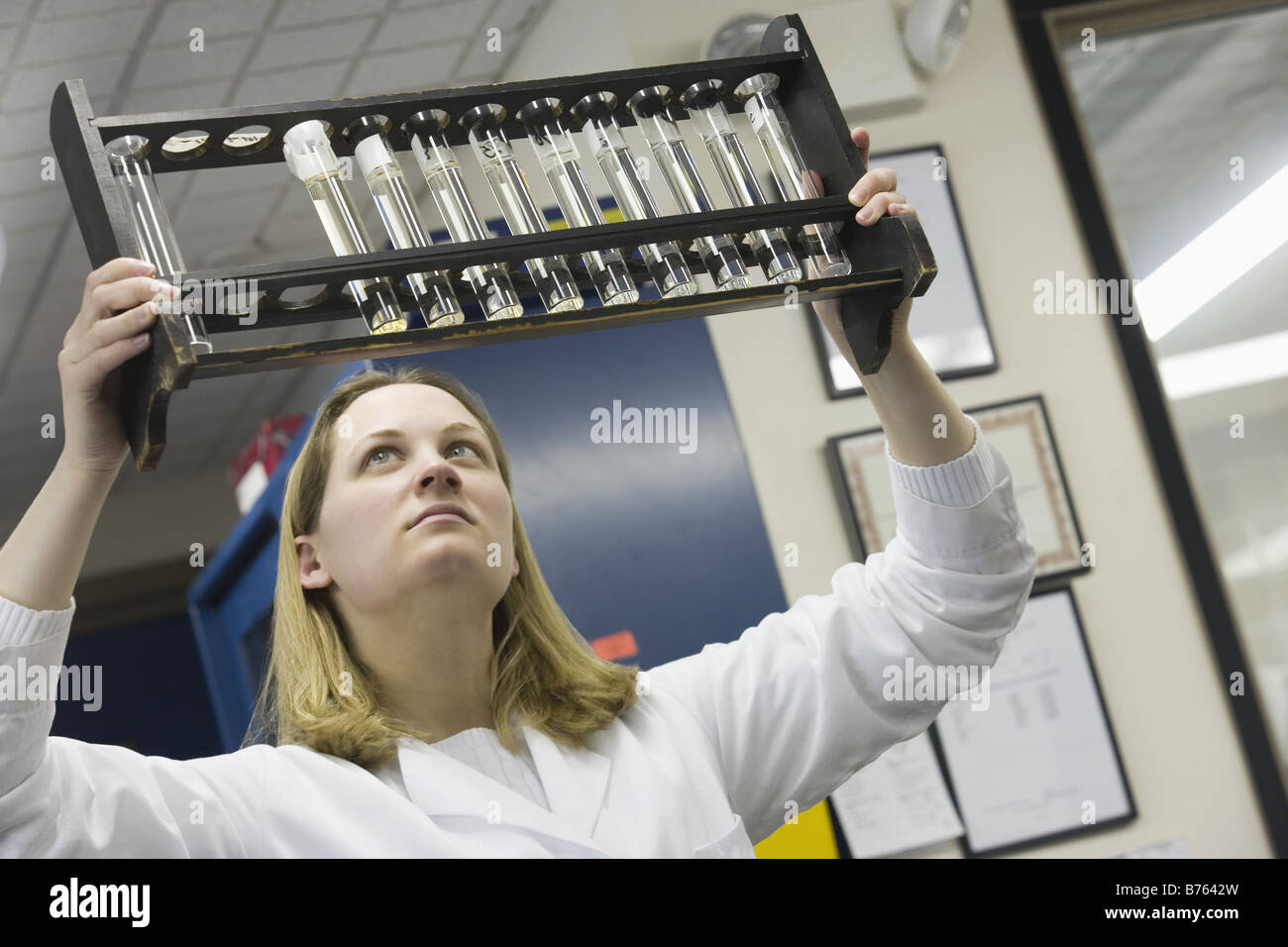 Female scientist inspecting color standards in a rack - Stock Image