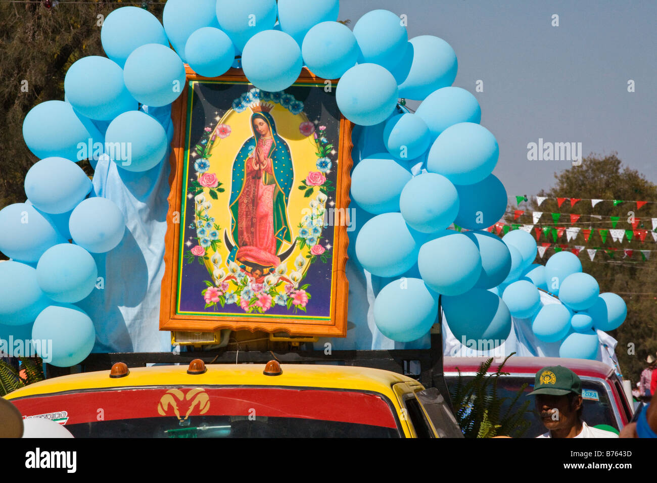 An image of the revered VIRGIN OF GUADALUPE during her festival in December LOS RODRIGUEZ GUANAJUATO MEXICO - Stock Image