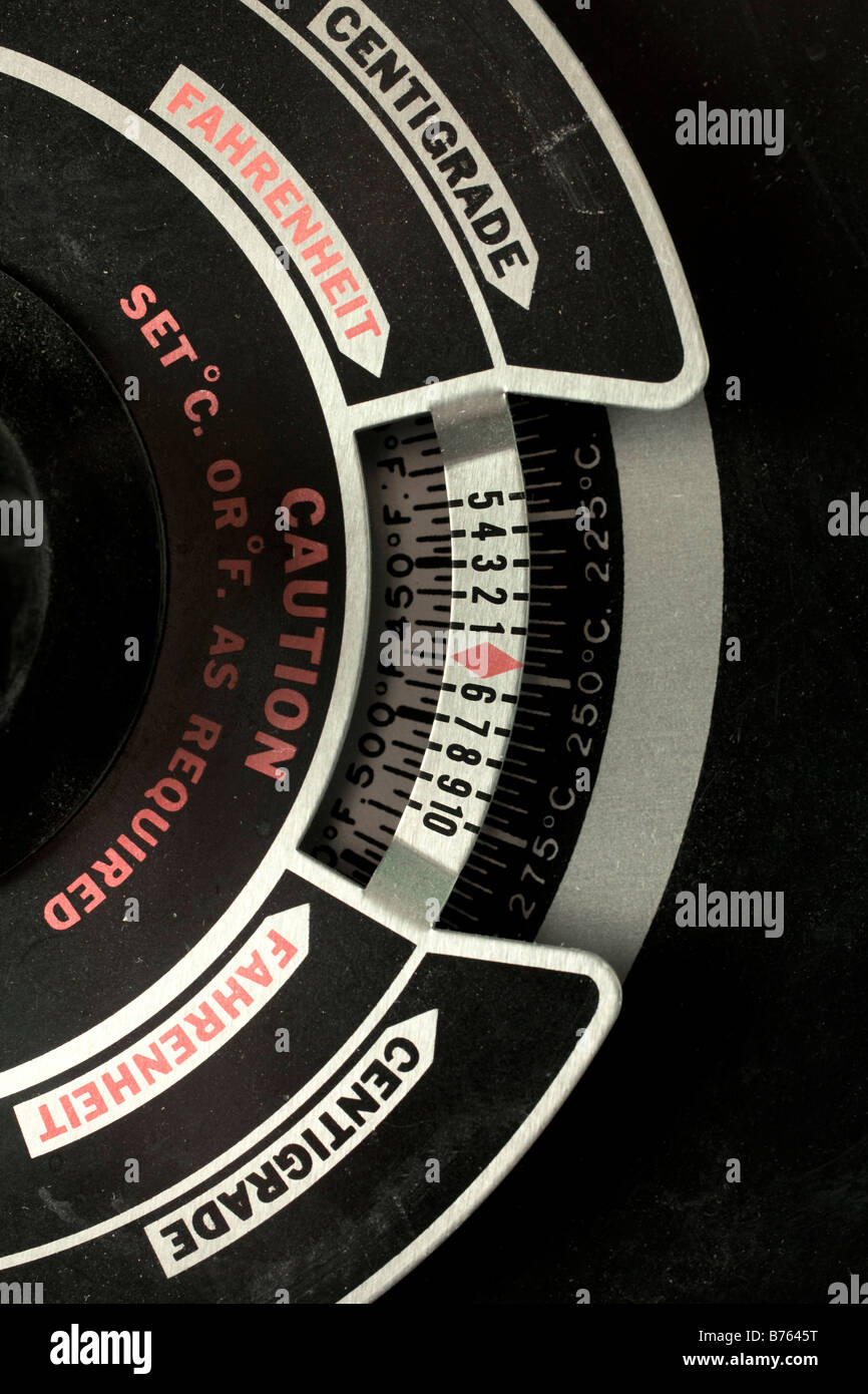 Temperature setting dial for laboratory drying oven - Stock Image