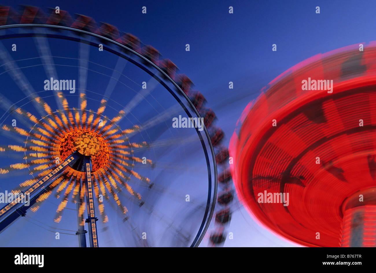 big wheel october festival fairground ride munich folk festival bavaria germany sight Stock Photo