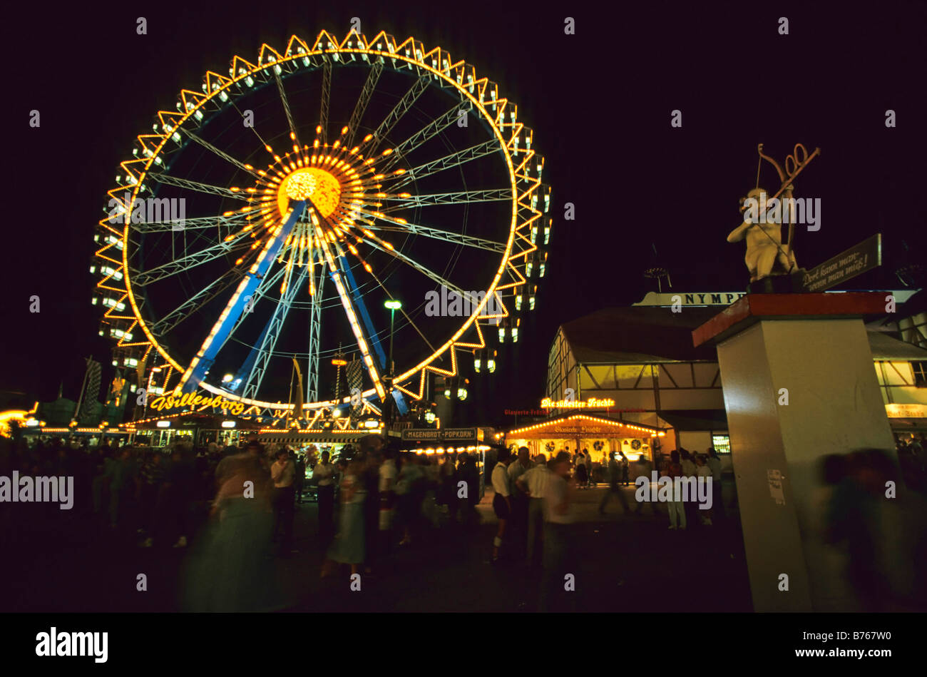 big wheel october festival fairground ride munich folk festival bavaria germany sight Stock Photo