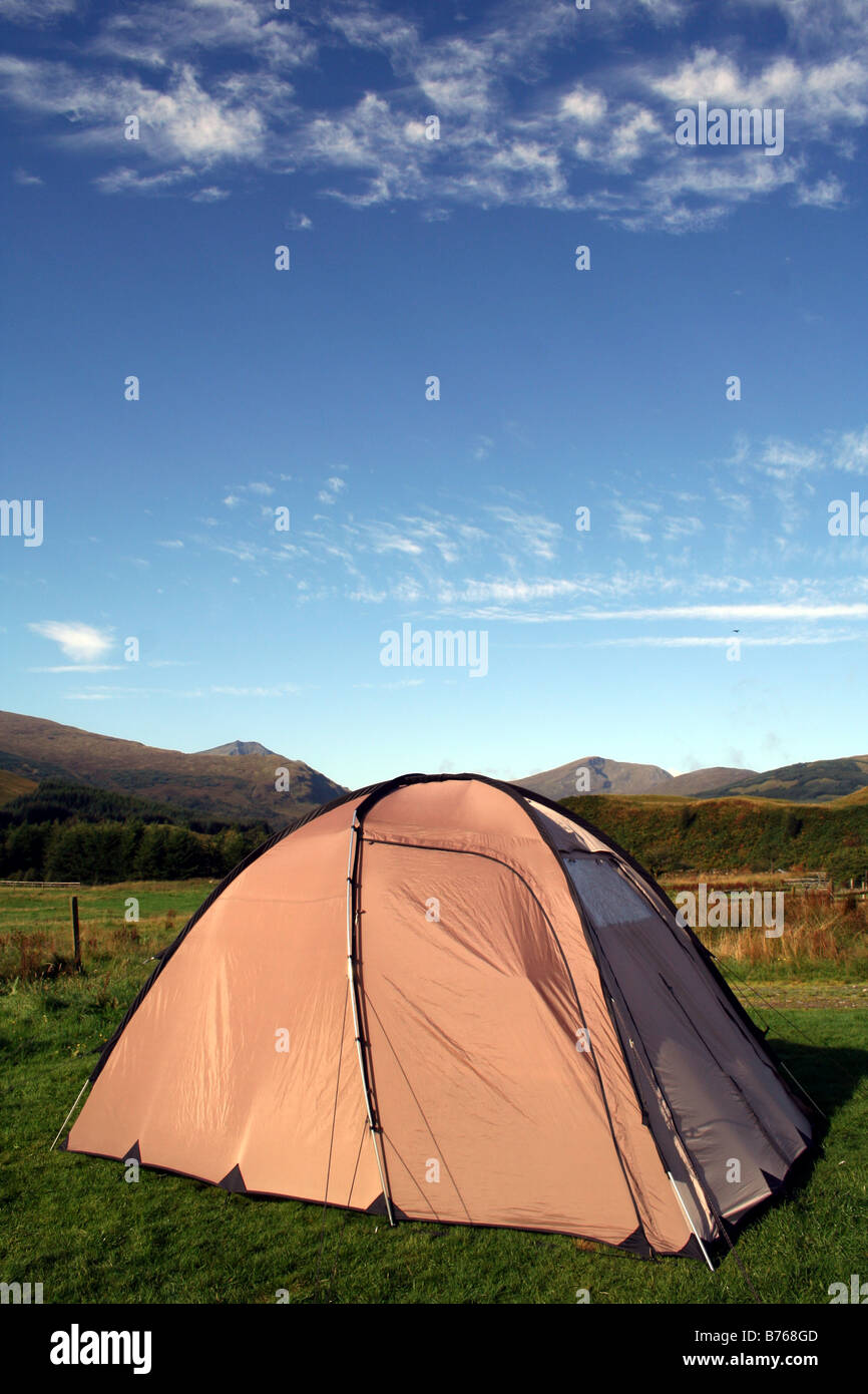 Camping Tent in Sunshine in Scottish Highlands on the West Highland Way in Scotland - Stock Image
