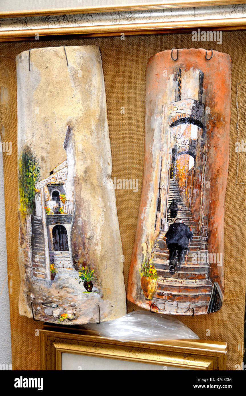 Hand Painted Roof Tiles On Display In Taormina Sicily