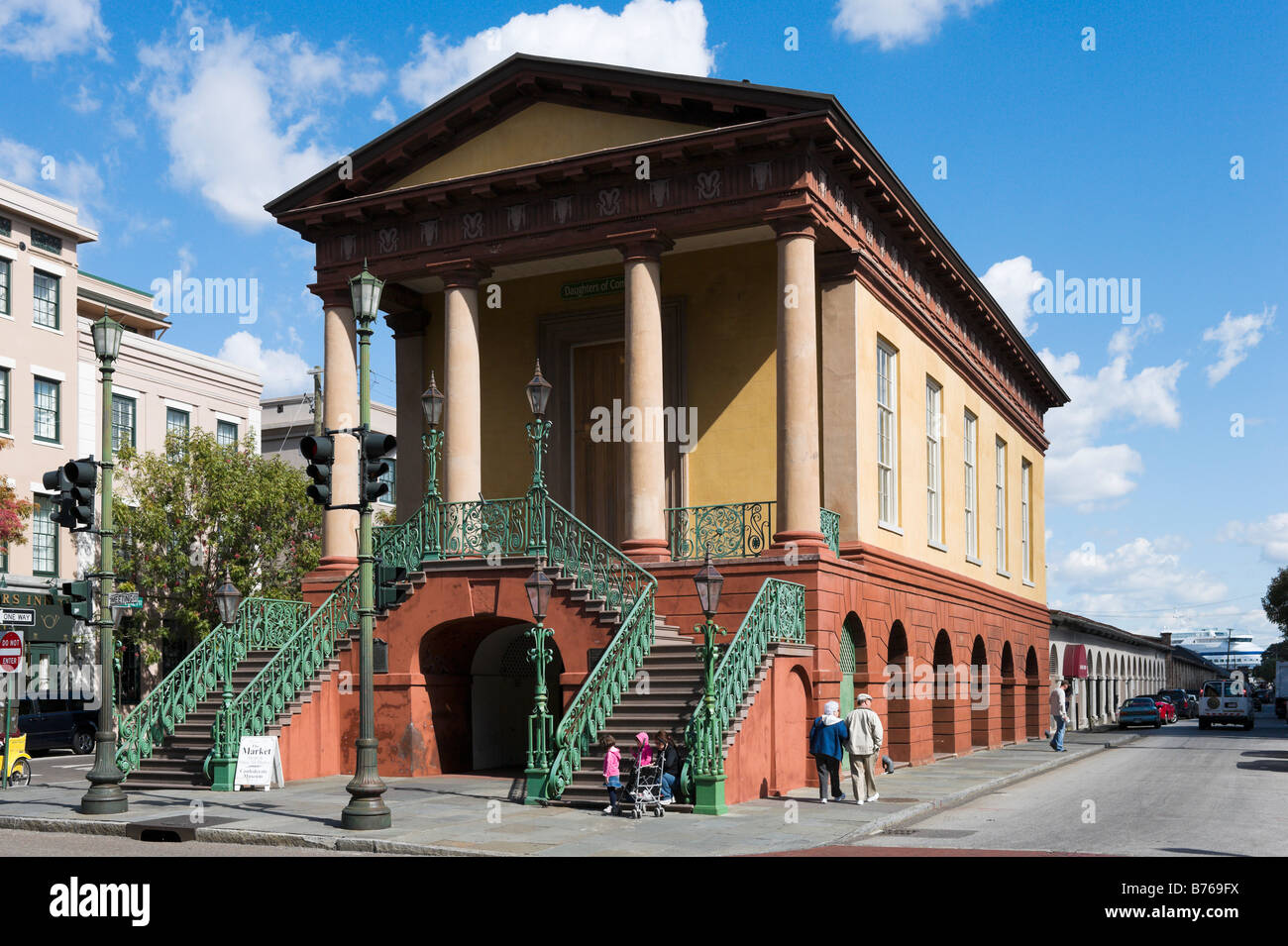 The Market Hall and Confederate Museum at Charleston City Market in the historic district, Charleston, South Carolina - Stock Image
