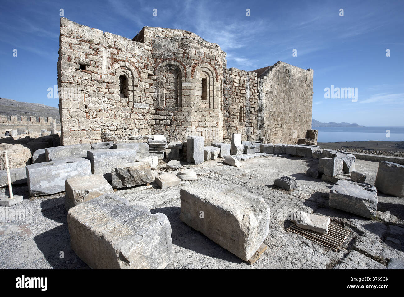 Part of the Acropolis Lindos Island of Rhodes Greece - Stock Image