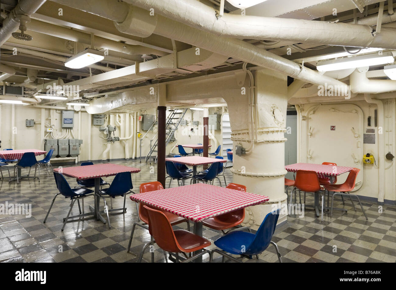 Mess hall onboard the USS Yorktown aircraft carrier, Patriots Point Naval Museum, Charleston Harbor, South Carolina - Stock Image