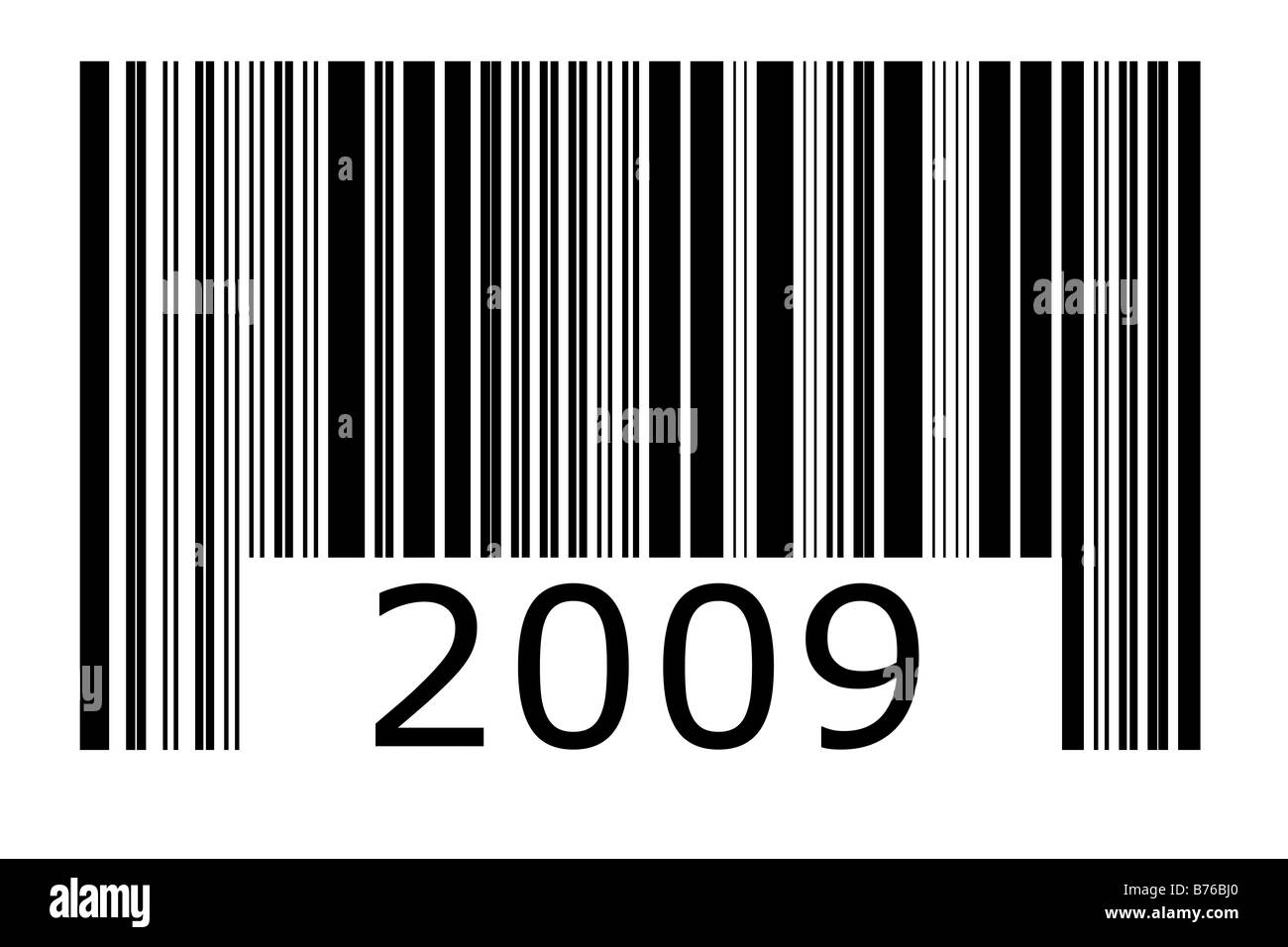 2009 barcode in black and white - Stock Image