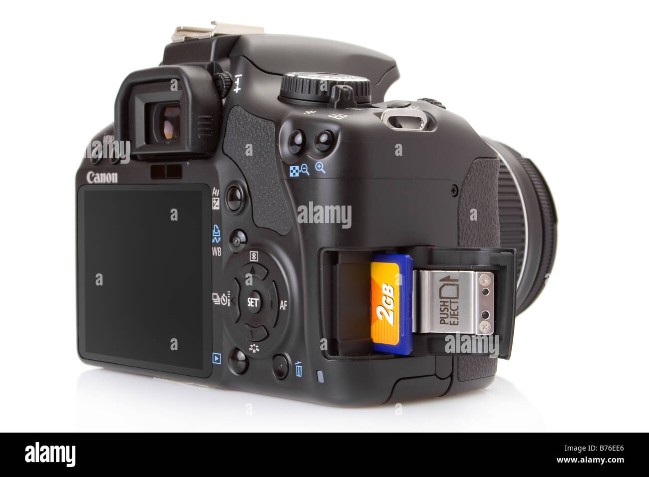 Canon EOS 450D (Rebel XSi), 12 megapixel digital slr, with a half inserted sd card - Stock Image