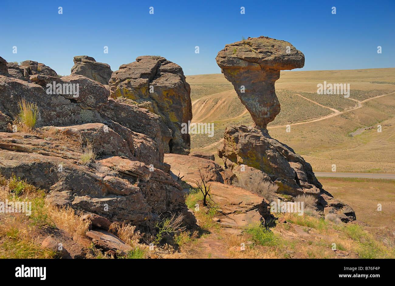 The Balanced Rock, near Twin Falls in Idaho, USA - Stock Image