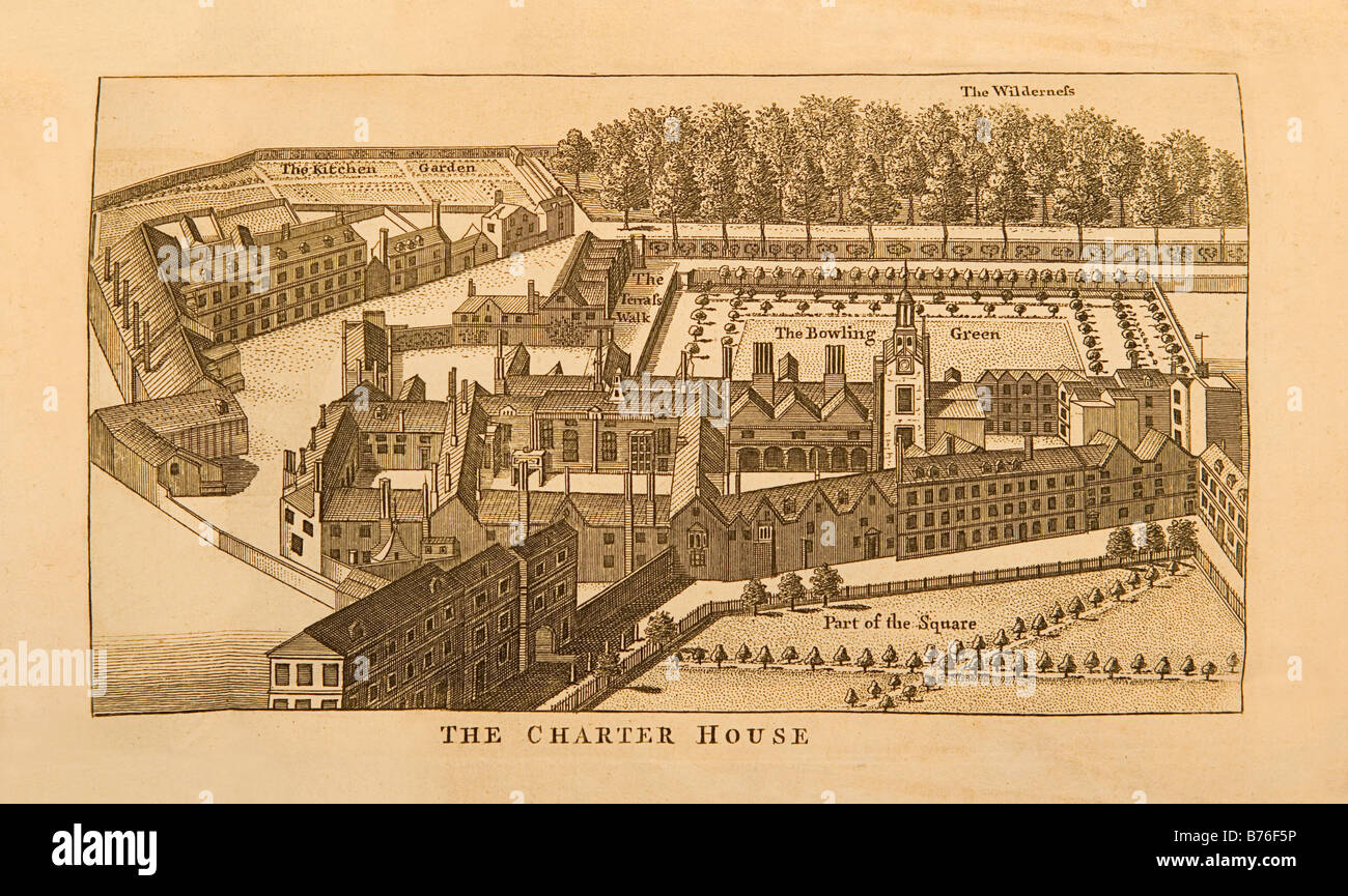 An 18th century engraved rendering of the CharterHouse in London England - Stock Image