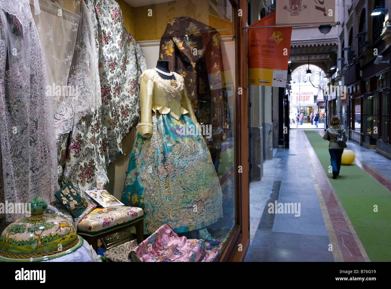 Window display of traditional Spanish costume dress shop in the historical city centre of Valencia Spain - Stock Image