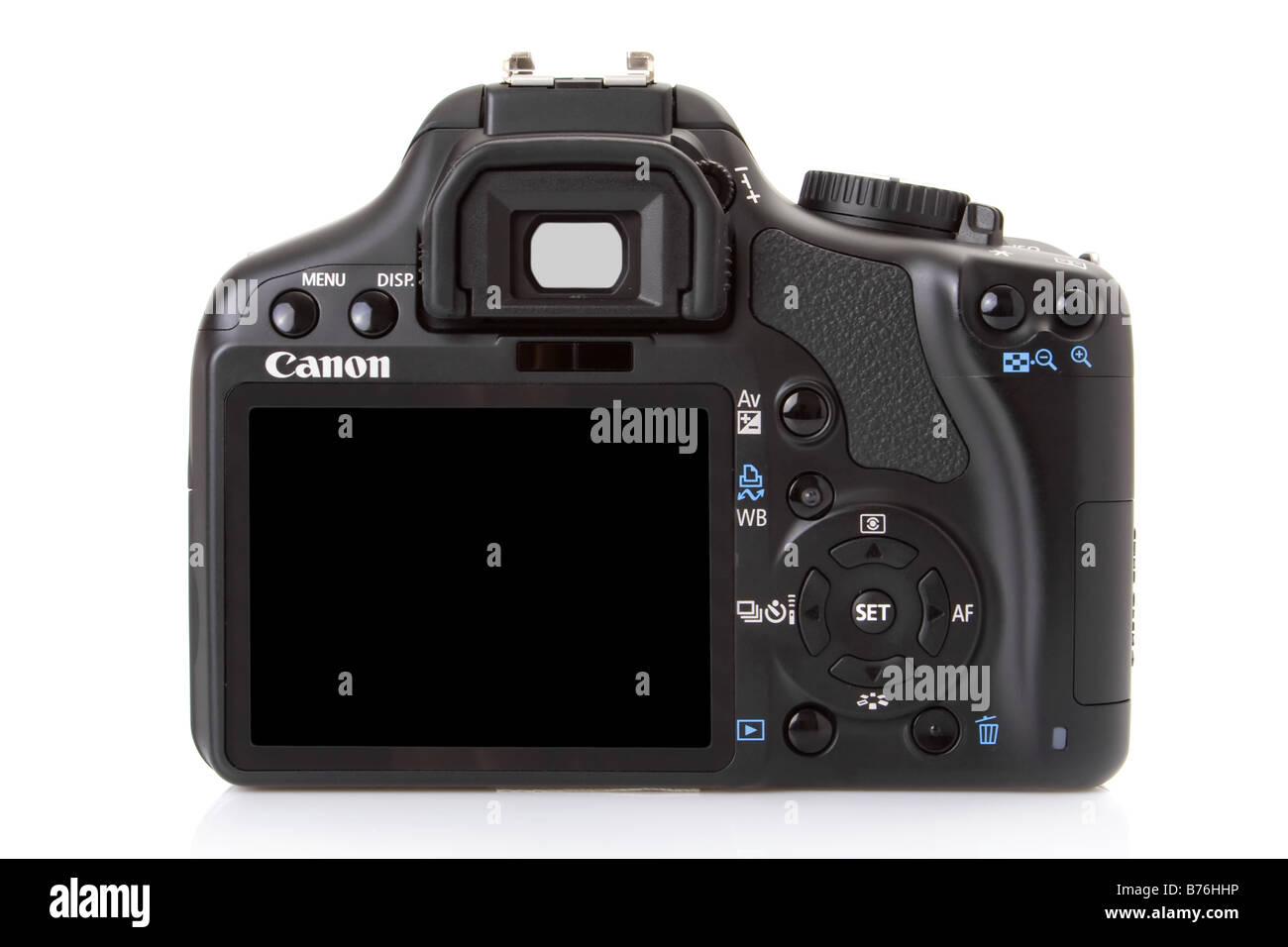 Back of a Canon EOS 450D (Rebel XSi), 12 megapixel digital slr. - Stock Image