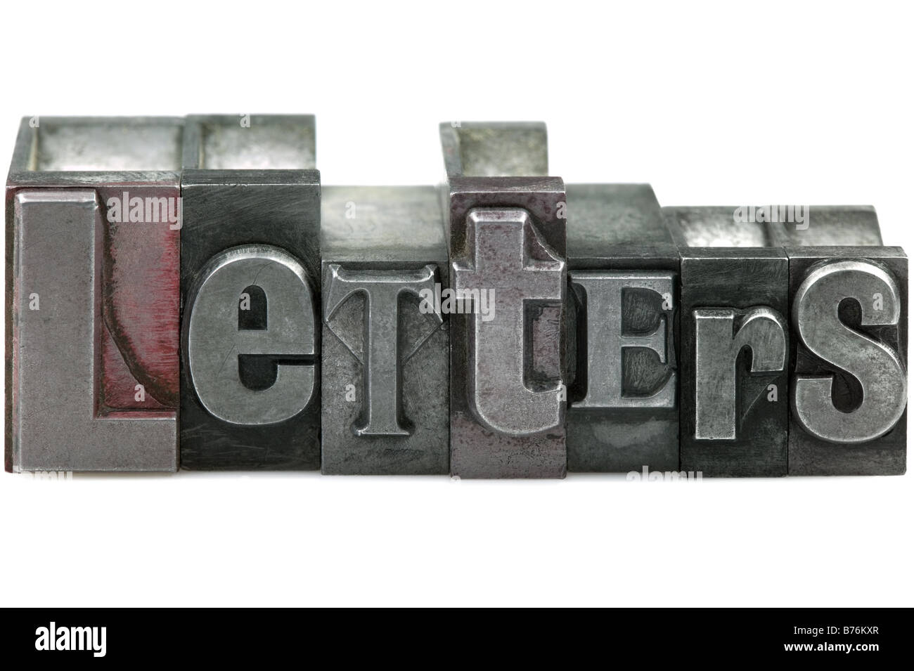 The word LETTERS in old letterpress printing blocks isolated on a white background - Stock Image
