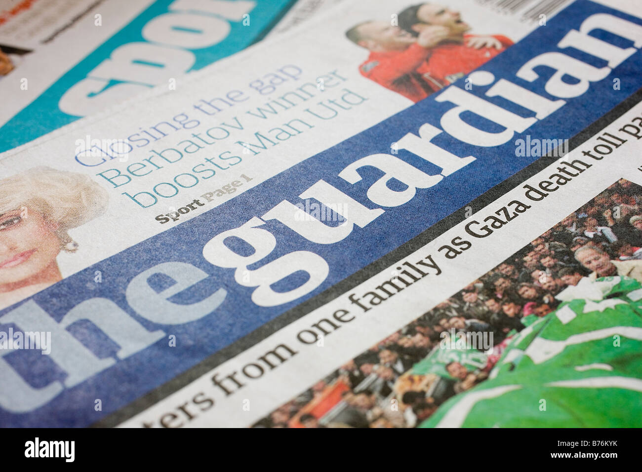 Detail of the front page of the British national newspaper The Guardian - Stock Image