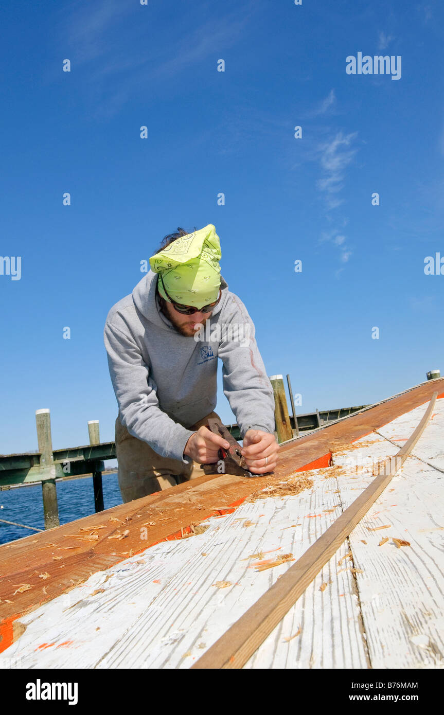 Restoration of the Skipjack Caleb W. Jones at the Chesapeake Bay Maritime Museum in St Michael's Maryland USA Stock Photo