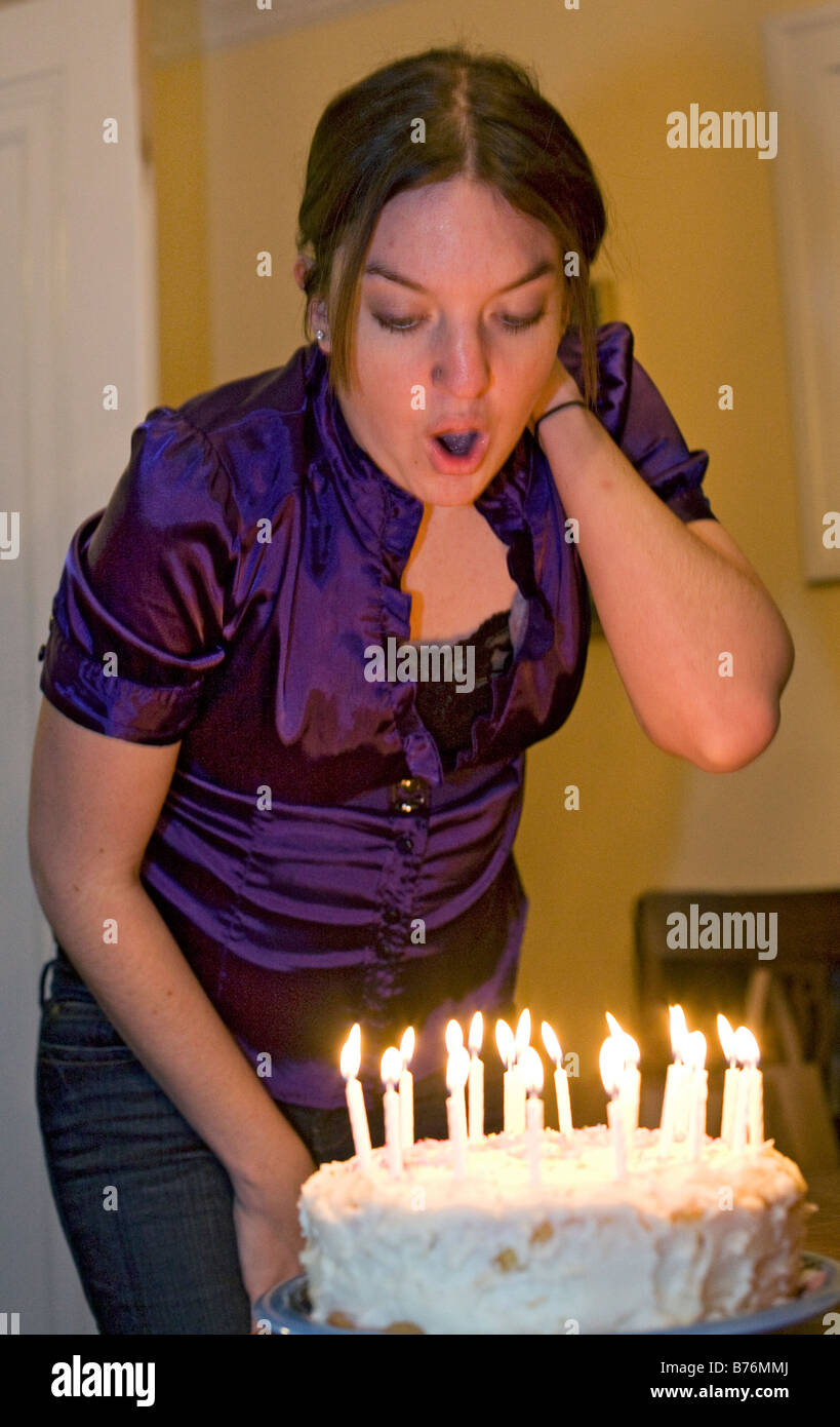 Detroit Michigan Mariel West Blows Out Candles On Her Birthday Cake As She Celebrates Turning 21 Years Old