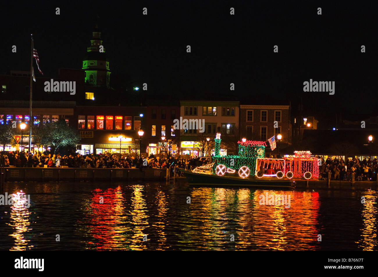 Holiday boat display, Parade of Lights Annapolis Maryland USA Stock ...