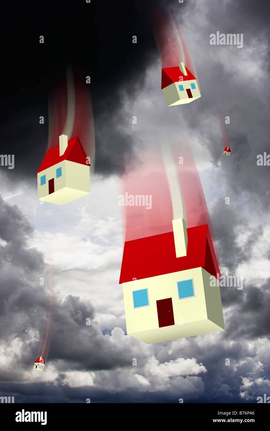 Falling houses against a stormy sky representing housing market values and repossession - digital composite - Stock Image